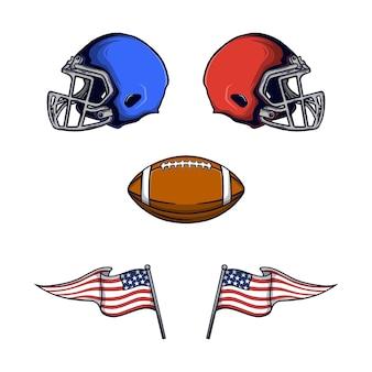 Ensemble d'équipement de football américain et vecteur