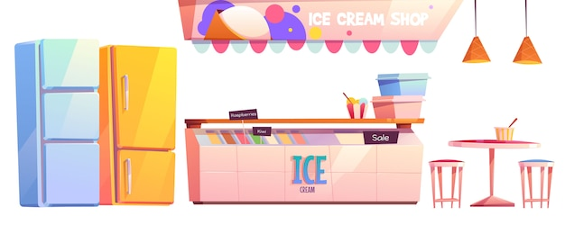 Ensemble d'équipement intérieur de boutique de crème glacée ou café