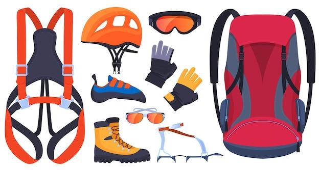 Ensemble d'équipement pour l'escalade, les grimpeurs. assurance, carabines, piolet. casque, bottes, griffes, gants. sports extrêmes.