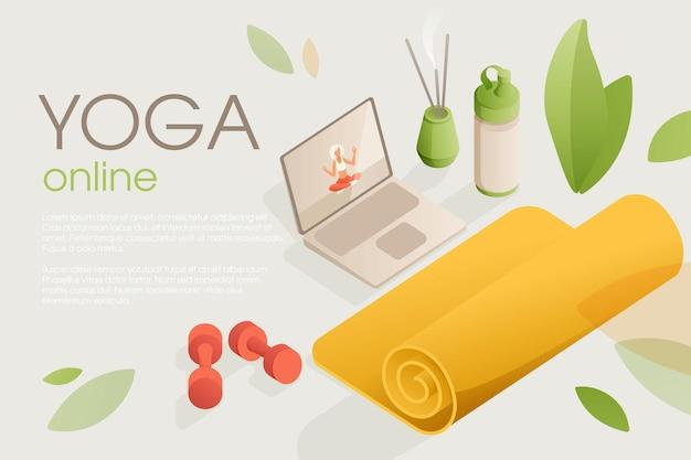 Ensemble d'équipement de yoga pour l'entraînement à domicile avec une leçon vidéo sur l'ordinateur portable