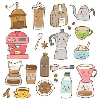 Ensemble d'équipements à café dans le style kawaii doodle