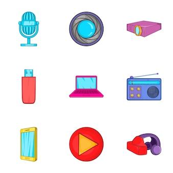Ensemble d'équipements électroniques, style cartoon