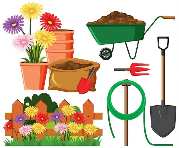 Ensemble d'équipements de jardinage et de fleurs sur fond blanc
