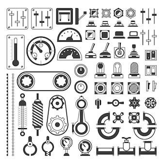 Ensemble d'équipements de mesure - clipart isolé réaliste de vecteur moderne sur fond blanc. différents instruments pour l'ingénierie, appareils, indicateurs, engrenages, capteurs, compteurs indicateurs, jauges