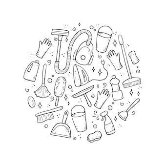 Ensemble d'équipements de nettoyage dessinés à la main, éponge, aspirateur, spray, balai, seau. style de croquis de doodle comique.