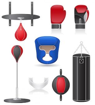 Ensemble d'équipements pour l'illustration vectorielle de boxe