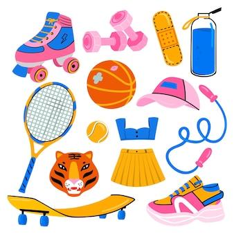 Ensemble d'équipements et vêtements de sport d'activités de plein air d'été pour jeune fille (tennis, skateboard, tigre)
