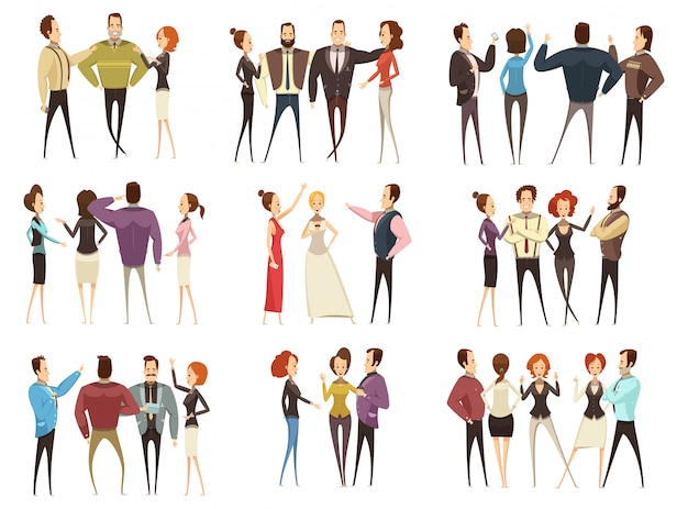 Ensemble d'équipes commerciales vues avant et arrière avec des hommes et des femmes style cartoon isolé vecteur illustra