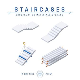 Ensemble d'escaliers en béton, vue isométrique.