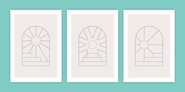 Ensemble d'escaliers géométriques abstraits boho et illustration d'affiche de soleil