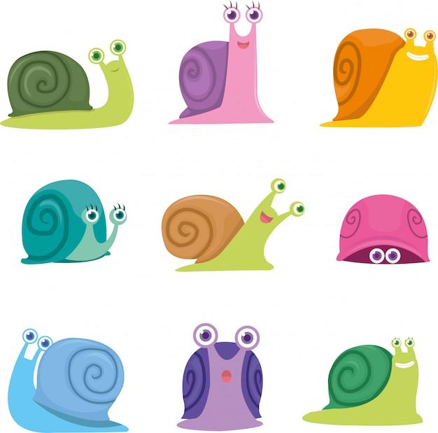 Ensemble d'escargot mignon avec différentes poses et couleurs