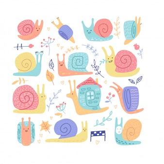 Ensemble d'escargots enfantins dessinés à la main de comportement différent