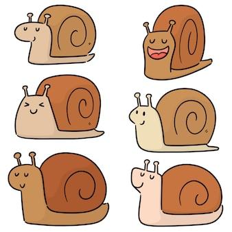 Ensemble d'escargots mignons