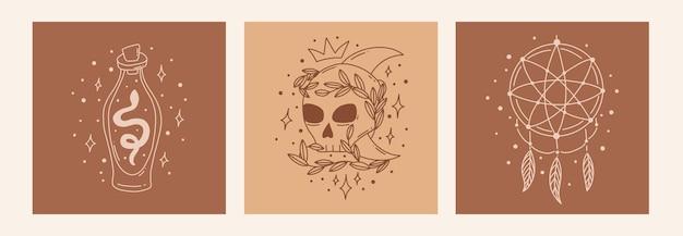 Ensemble ésotérique de griffonnage mystique boho affiche d'art de ligne magique avec crâne de bouteille de poison dreamcatcher