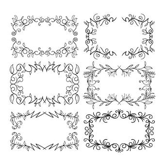 Ensemble d'espace de copie dessiné à la main de décoration de cadre orné