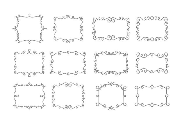 Ensemble d'espace de copie de lignes ornementales ondulées