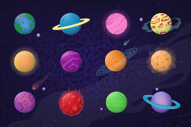 Ensemble d'espace et de planètes