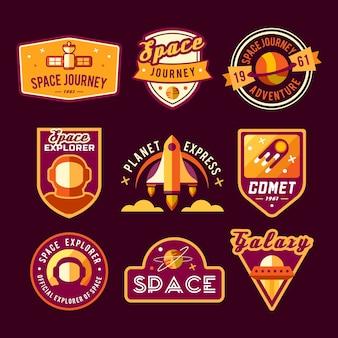 Ensemble d'espaces vintage et insignes astronautes, emblèmes, logos et étiquettes.