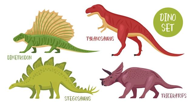 Ensemble d'espèces de dinosaures