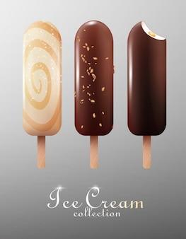 Ensemble esquimau de crème glacée classique réaliste
