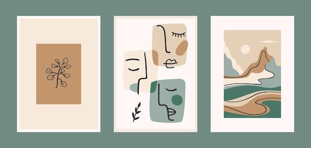 Ensemble D'estampes D'art Contemporain. Dessin Au Trait. Vecteur Premium