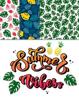 Ensemble d'estampes et de motifs d'été