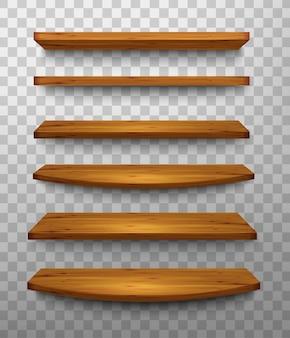 Ensemble d'étagères en bois sur fond transparent. vecteur.