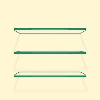 Ensemble d'étagères en verre transparent