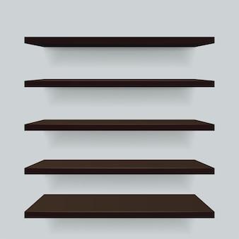 Ensemble d'étagères de vue différente en bois brun.