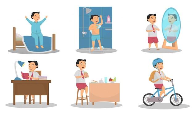 Ensemble d'étapes d'activité des élèves allant aux concepts de l'école