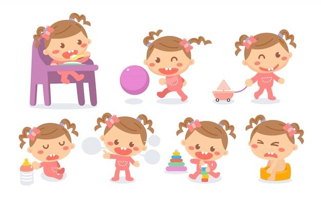 Ensemble d'étapes de développement de bébé fille en actions. jalons bébé.