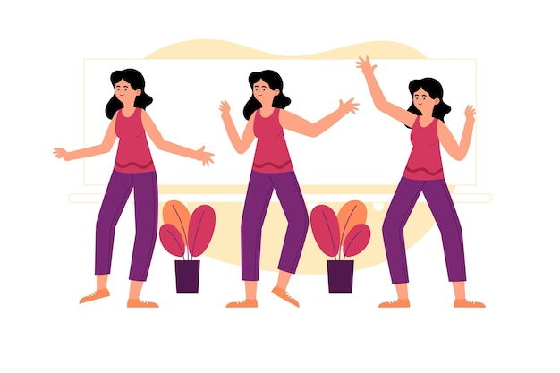 Ensemble d'étapes de fitness danse plat dessinés à la main