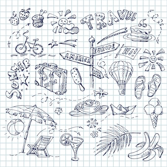 Ensemble d'été de différents objets, thème de la plage et de la mer