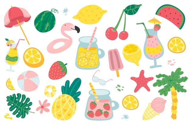 Ensemble d'été avec des éléments de plage mignons jus de cocktail crème glacée fruits fleurs palmiers