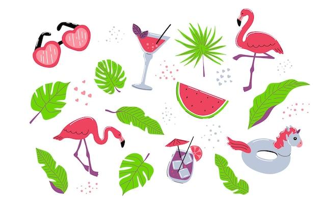 Ensemble d'été avec des feuilles de palmiers tropicaux flamants roses boisson cocktail anneau en caoutchouc licorne et pastèque