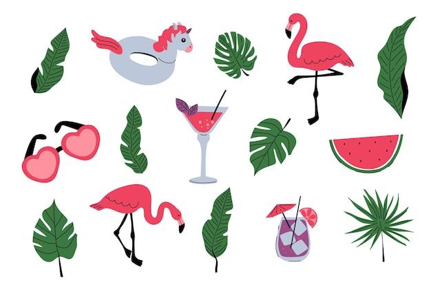 Ensemble d'été avec des flamants roses feuilles de palmier tropicales boissons cocktail anneau en caoutchouc licorne pastèque