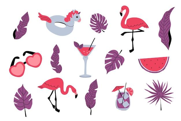 Ensemble d'été flamants roses feuilles de palmiers tropicaux cocktails boissons anneau en caoutchouc gonflable pastèque
