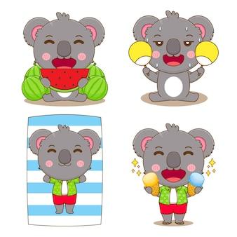 Ensemble d'été de koala avec illustration de dessin animé de concept