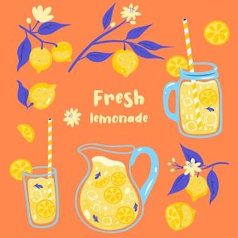 Ensemble d'été de limonade et de citrons.