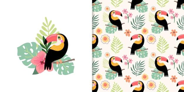 Ensemble d'été avec motif tropical sans couture et conception de cartes décoratives