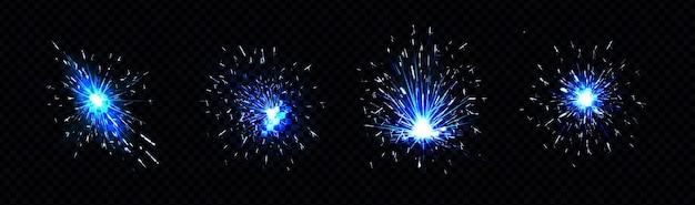 Ensemble d'étincelles bleues de feu d'artifice