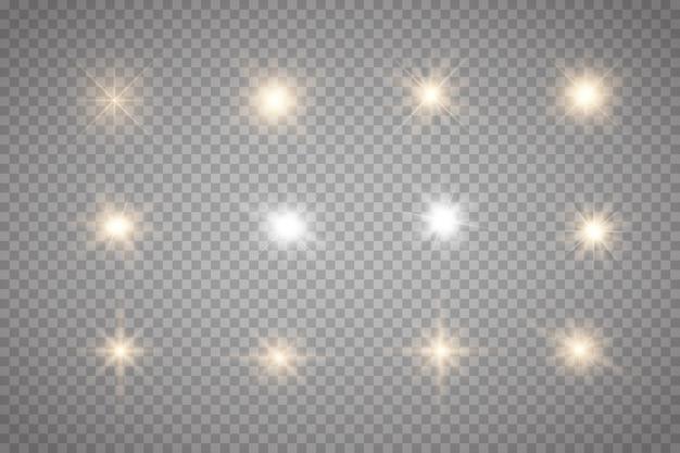 Ensemble d'étincelles d'or isolés. étoiles brillantes de vecteur