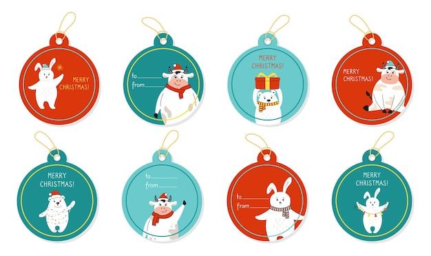 Ensemble d'étiquette-cadeau de couleur ronde de noël avec des animaux