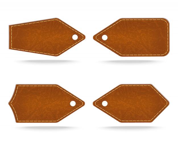 Ensemble d'étiquette en cuir sur fond blanc, illustration vectorielle