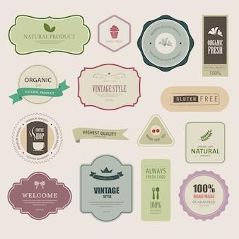 Ensemble d'étiquette naturelle et bannière biologique.