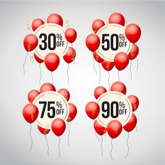 Ensemble d'étiquette de prix d'offre de réduction avec des ballons
