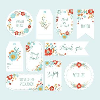 Ensemble d'étiquette de remerciement de fleur romantique sertie de fleurs printanières dessinées à la main.