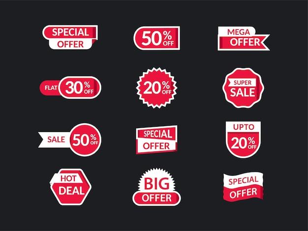 Ensemble d'étiquette de vente, étiquette ou mise en page collante avec les meilleures offres de réduction sur fond noir.