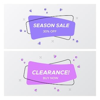 Ensemble d'étiquette de vente violet dans des couleurs et un design tendance