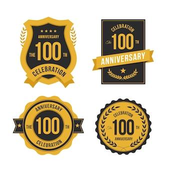 Ensemble d'étiquettes 100 anniversaire